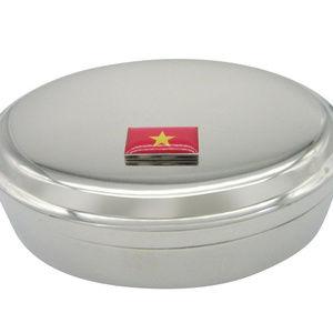 Vietnam Flag Pendant Oval Trinket Jewelry Box